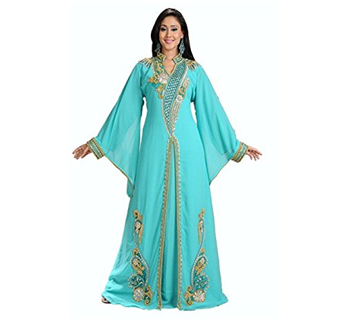 Urban Lipi Dubai Arabian Fancy Abaya Women Kaftan Muslim Fashion Party Wear Heavy Embroidery Fabulous Vintage (XXL)