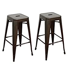 TOP SELLER! Adeco Tan Bronze 30 inch Metal Tolix Style Industrial Chic Chair Bar Counter High Stool Barstool, Set of Two