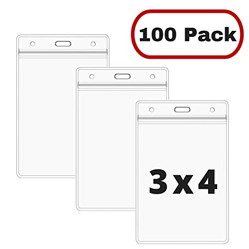 - Mata1 Vertical ID Badge Holder, Plastic Nametag Card Holders with Zipper (Clear, 4 x 3 inch, 100 Pack)