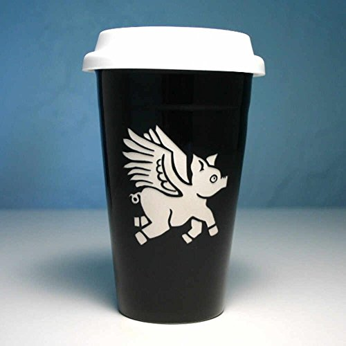 FLYING PIG Travel Mug - BLACK - Double Wall Ceramic Stoneware Angel Ceramic Travel Mug