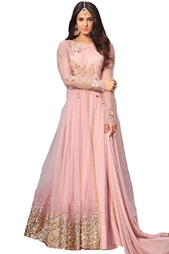 Ready Made Net Latest Embroidered and with Beautiful Anarkali Designer Salwar Kameez Maisha (Light Pink, ()