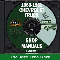 (1960-1962 Chevy Chevrolet Truck Repair Shop Service Manual CD GM (with Decal))