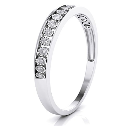Buy Jewels 10k White Gold 3mm Channel Set Diamond Band Wedding Anniversary Ring (0.15 ct I-J Color Clarity Si2) (white-gold, 5)