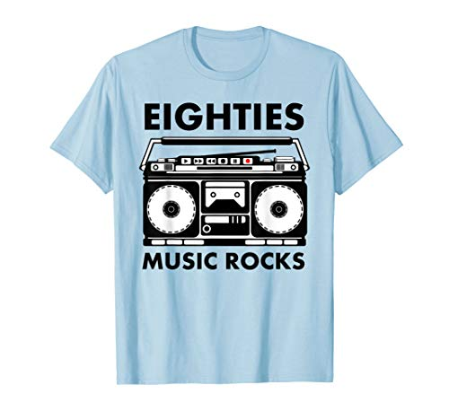 Eighties Music Rocks Ghettoblaster t-shirt, 5 Colors, S to 3XL
