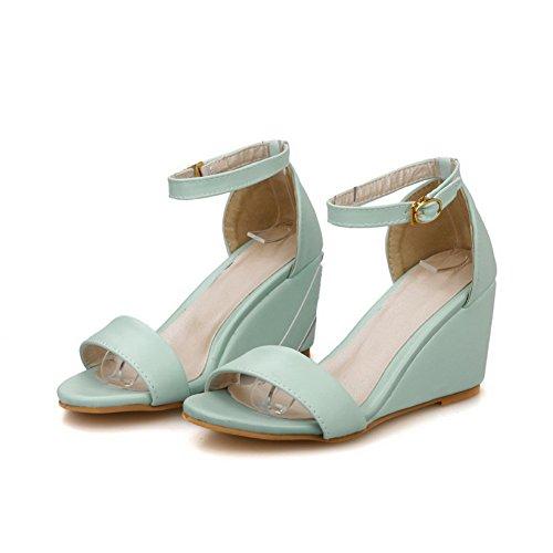 Allhqfashion Femmes Boucle Pu Open Toe Talons-aiguilles Solides Wedges-sandales Bleu