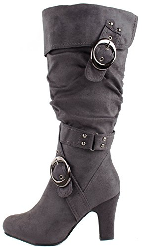 Suede Buckle 4 with Heel Strong Mid Boots Crossed Straps Women's Top Grey Moda w6qRgcHwZ