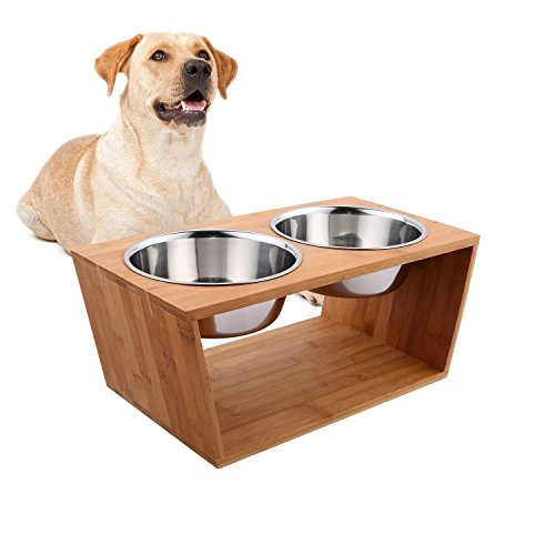 rampmu Bamboo Elevated Dog Cat Food and Water Double Bowls Stand Feeder with 2 Stainless Steel Bowls (Large)