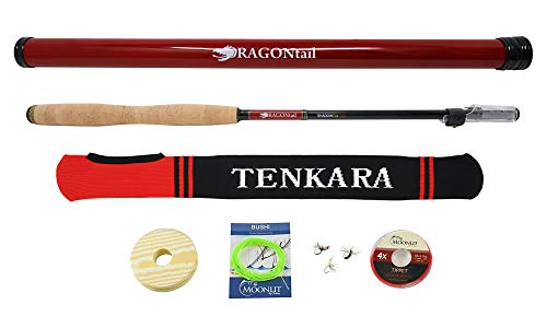 DRAGONtail Shadowfire 365 12' Tenkara Rod Plus Complete Starter Package - Flies, Leader, Tippet, Line Holder, Storage Tube, and Rod Sock