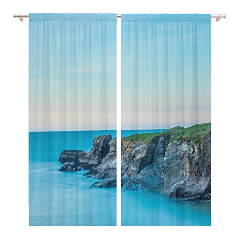 Tinmun 104 x 84 Inch Decorative Drapes Cornwall UK Cliffs Port Gaverne at Sunset in Pastel 2 Panels Window Curtains for Living Room Bedroom Printed