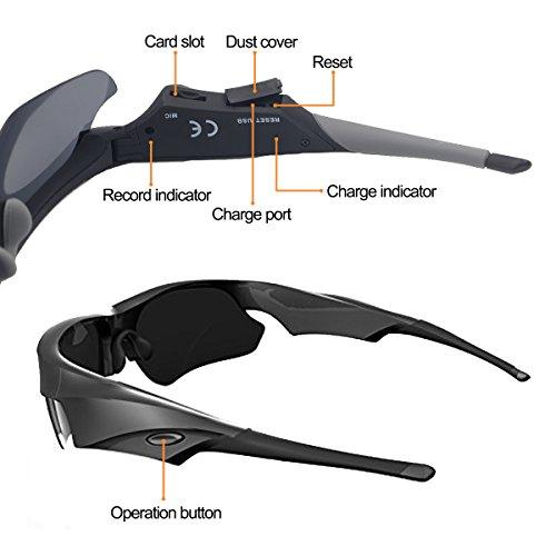 Sunglasses Camera, KAMRE Full HD 1080P Mini Video Camera with UV Protection Polarized Lens, A by KAMRE (Image #4)