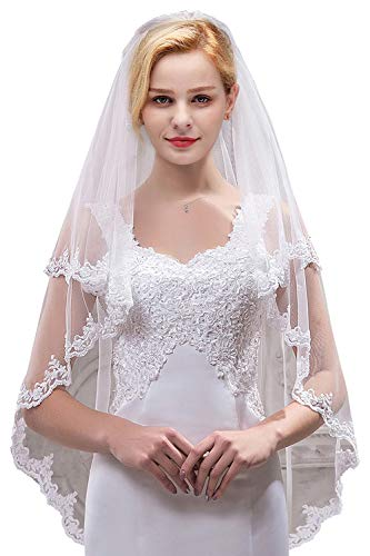 Women's Bridal Tulle Veils with Comb Lace Edge