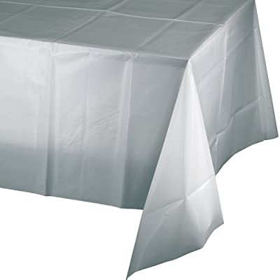 Creative Converting Touch of Color Plastic Table Cover, 54 by 108-Inch, Shimmering Silver by Creative Converting