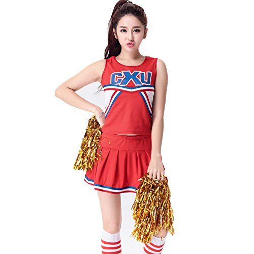 [BeautyXTP Women's Cheerleader Costume Football Sport Fancy Dress Outfit Uniform (S, Red)] (Cheerleader Outfit For Sale)