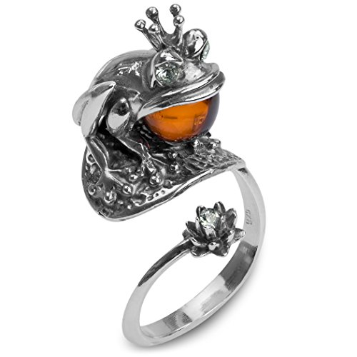 Amber Sterling Silver Frog Princess Ring