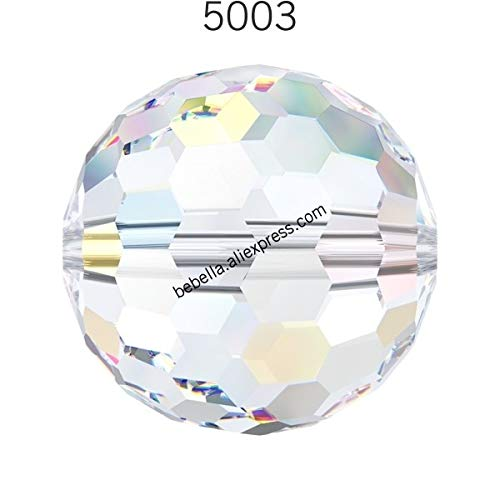(Pukido 1 Piece of 100% Original Crystal from Swarovski 5003 Disco Ball Beads Loose Beads Stone Retail for Jewelry Making - (Color: Crystal 001AB, Item Diameter: 14mm))