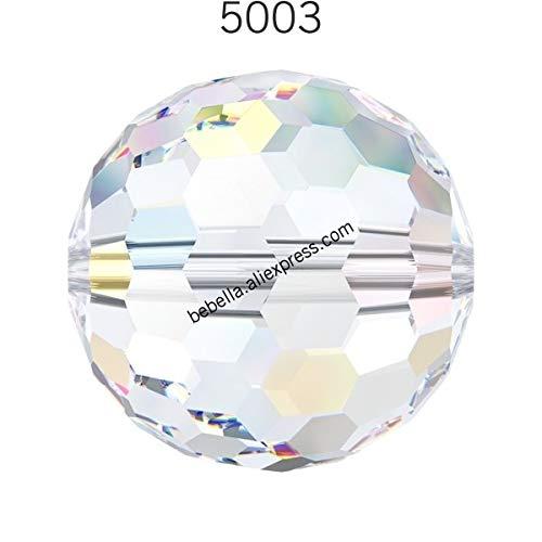 Calvas (1 Piece) 100% Original Crystal from Swarovski 5003 Disco Ball Beads Made in Austria Loose Beads Rhinestone DIY Jewelry Making - (Color: Crystal 001 AB, Item Diameter: 6mm)