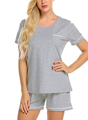 - nine bull Womens Pajama Set Cotton Short Sleeve Sleepwear 2-Piece PJ Sets (Grey, M)