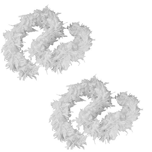 Tigerdoe Feather Boas - 2 Pack - White Marabou Boas, Party Dressup Costume Accessories, 72 Inch Long -