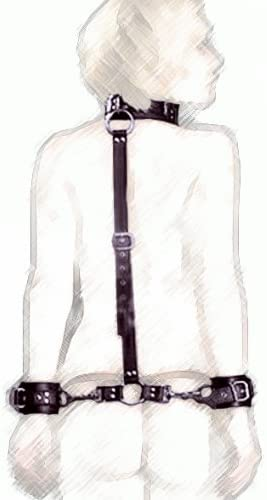 Faux Leather Neck Collar-Wrist Cuff Slave Restraints Handcuffs Behind Back Strap