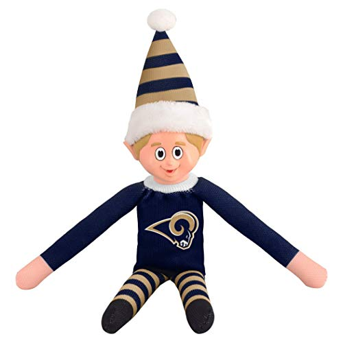 - no!no! 14 Inch NFL Rams Team Elf Football Themed Team Color Logo Mens Collectible Toy Sweatshirt Santa Hat, Man Cave Decoration Christmas For Fan Navy Whiye Blue, Polyester