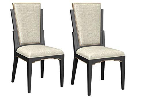 Bombay D2006SCU0130 Art Deco Hardwood Upholstered Dining Chairs, Set of 2, Black, - Deco Chair Art Set