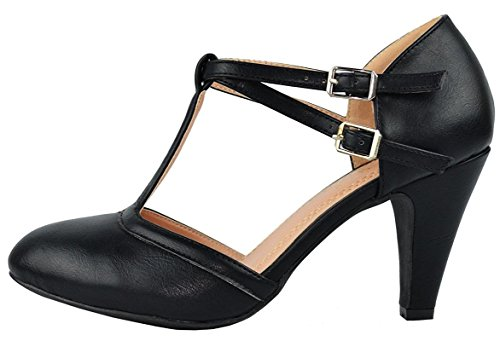 Chase & Chloe Kimmy-51 Women's Mary Jane T-Strap Round Toe Pump (9 B(M) US, Black)