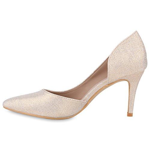 Stiefelparadies Spitze Damen Pumps Satinoptik Pailletten High Heels Schuhe Flandell Gold Glitzer