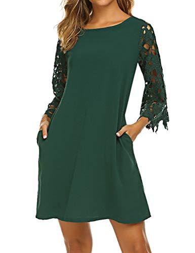 Qearal Crochet Lace Summer Chiffon Tunic Dress,Teens Loose Fit Shift Mini Dresses with Pockets Green M