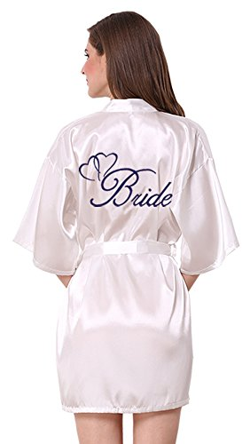 JOYTTON Women's White Satin Kimono Robe With Dark Blue Embroidered Bride M