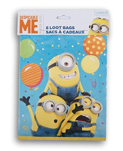 Despicable Me Minion Themed First Birthday Party Favor Loot Bags 8 Count ()