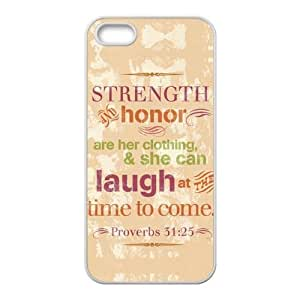 ebaykey Custombox Bible Quote Proverbs 31:25 She is clothed with streghth and dignity and she laughed without fear of the future Bible Quote iPhone 5/5S Silicone Case Cover