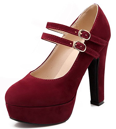 IDIFU Shoes Straps Platform Heels High Red Buckle Pumps Extreme Wine Womens Chunky Sexy Two ZwxrqBRZ