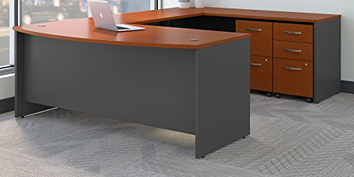 - Bush Business Furniture Series C 72W x 36D Bow Front U Shaped Desk with Mobile File Cabinets in Auburn Maple