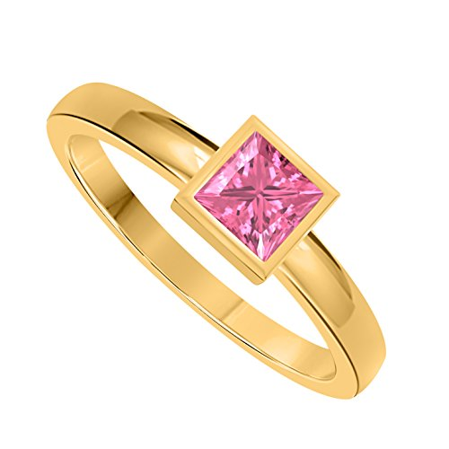 Classic 1.00 Ct Princess Cut Lab Created Pink Sapphire Bezel Set 14K Yellow Gold Solitaire Engagement Ring