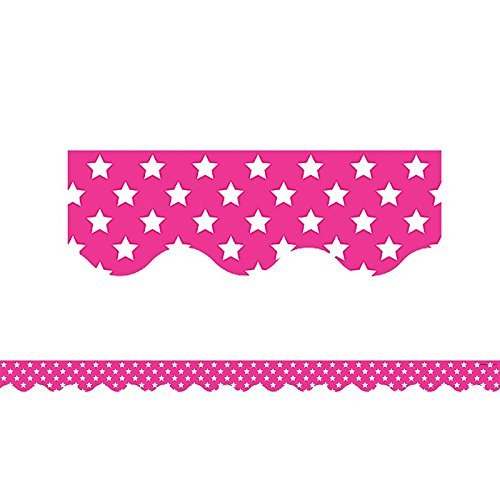 Teacher Created Resources Pink with White Stars Scalloped Border Trim (5091)