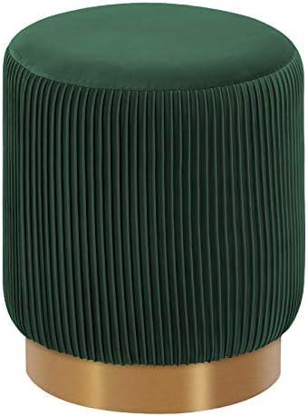 Duhome Modern Round Velvet Ottoman Footrest Vanity Stool Dark Green