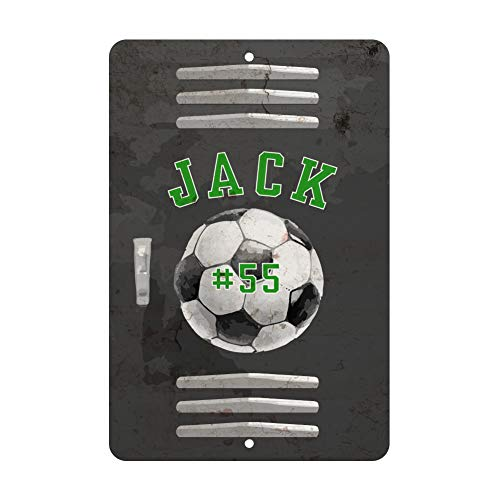 Personalized Soccer Locker Room Sign - Add Any Soccer Players Name and Favorite Soccer Number on Aluminum Sign ()