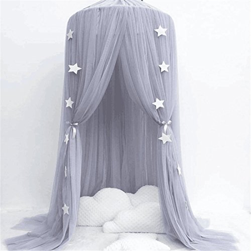 - Mosquito Net for children, Cotton Yarn Mosqutio Net Hanging Curtain, Baby Round Dome Princess Room for Indoor Playing, Reading Tent, Bed & Bedroom Decoration (High 240cm, Dome Diameter 60cm) (Grey)
