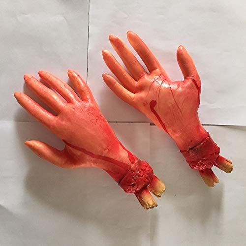 (Baguio-Store - 1 Pc Halloween Decor Scary Bloody Hand Horror Props Trick or Treat Practical Joke Tool Haunted House Halloween Party)
