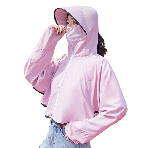 Fine Women Sun Protection Clothing Long Sleeve Sun Cooling UPF 50+ UV Cooling Sun Protection Body Shawl, Shrug for Driving or Beach (Pink)
