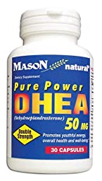 Mason Vitamins DHEA 50 mg Capsules, 30-Count Bottles (Pack of 3)