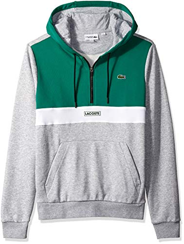 Lacoste Men's Sport Long Sleeve Color Blocked Logo Half Zip Hoodie, Woodland Green/Silver Chine/White/Black, X-Large