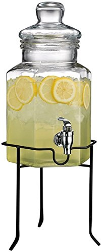 Octagon Beverage Dispenser - Palais Glassware Clear Glass Octagon Beverage Dispenser - 1 Gallon, with Glass Lid and Metal Stand (Classic)