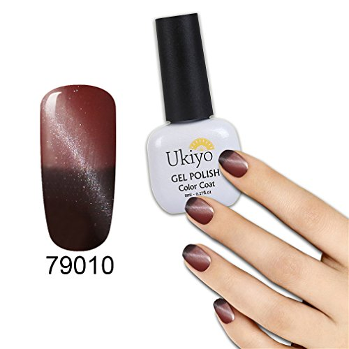 Ukiyo 3D Magnetic Cat Eye Gel Polish Set 6Pcs Thermal Temperature Color Changing Nail Gel Polsih UV Gel 8ml/0.27fl.oz LED Soak Off Chameleon Gel Nail Polish Varnish Long Lasting Lacquer (#2) Photo #7
