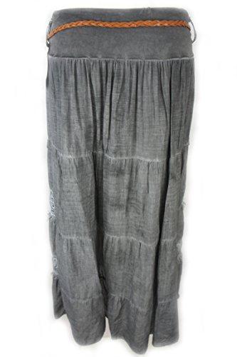 New Collection Sommerrrock aus luftiger Viscose mit Spitze und Fransen, grau 38/40