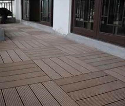 WPC avec Syst/ème de Clic 6X SORARA 30 x 30 cm Dalles massives pour Jardin et Terrasse 0.54 m2 Marron Robuste