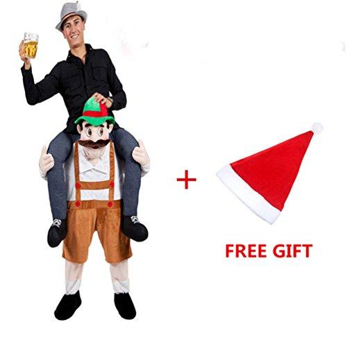 [Halloween Piggyback Ride On Riding Shoulder Adult Brown Beer Guy Costume Unisex Fancy Dress] (Guys Fancy Dress)