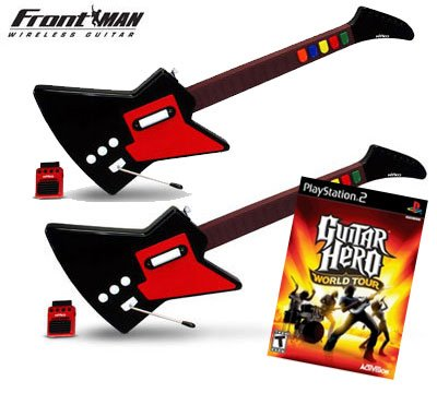 Guitar Hero World Tour for PS2 + 2 x Nyko Frontman Wireless Guitar Controller for PS2
