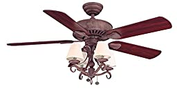 Hampton Bay Traditional 5-Blade Ceiling Fan with Rosewood or Honey Pine Blades, 52-inch Cobblestone Finish Dual Mount Option