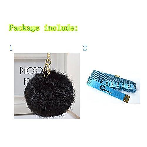2418644972e3 hot sale Cy3Lf Gold Plated Keychain Cute Genuine Rabbit Fur Ball Pom Pom  Keychain for Car